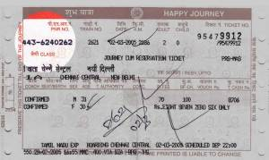 pnr number on Indian Railways ticket