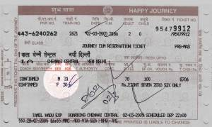 passenger details on Indian Railways ticket