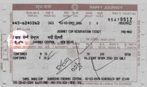seat class of the Indian Railways ticket